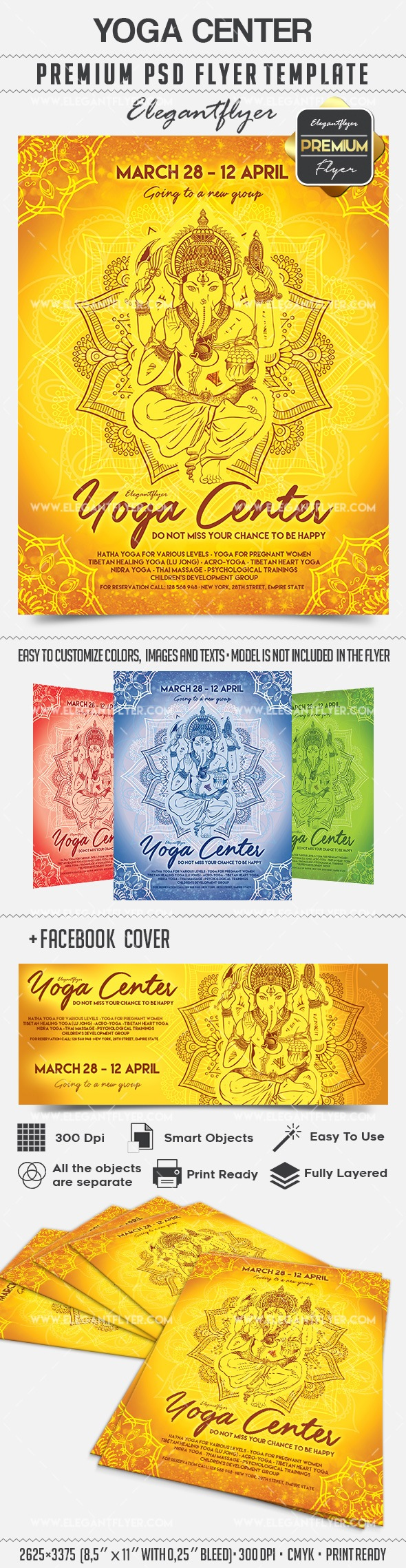 Yoga Center – Flyer PSD Template + Facebook Cover