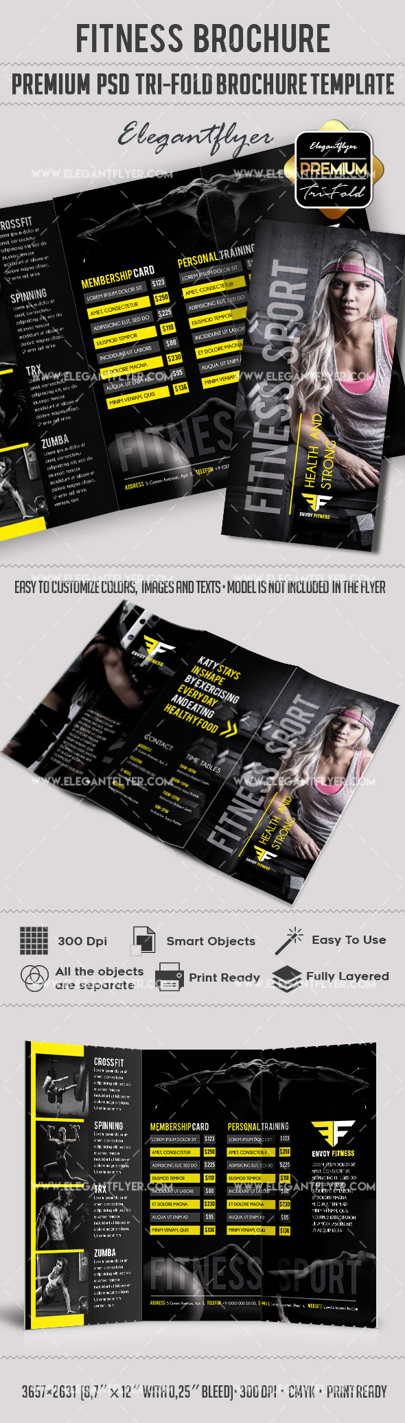 Fitness Premium TriFold PSD Brochure Template by ElegantFlyer – Gym Brochure Templates