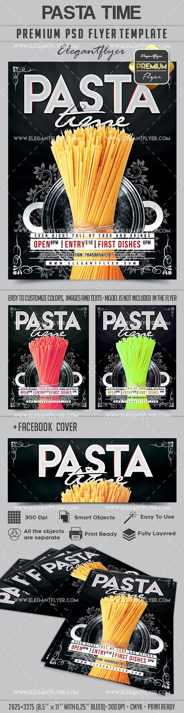 Pasta Time – Flyer PSD Template + Facebook Cover