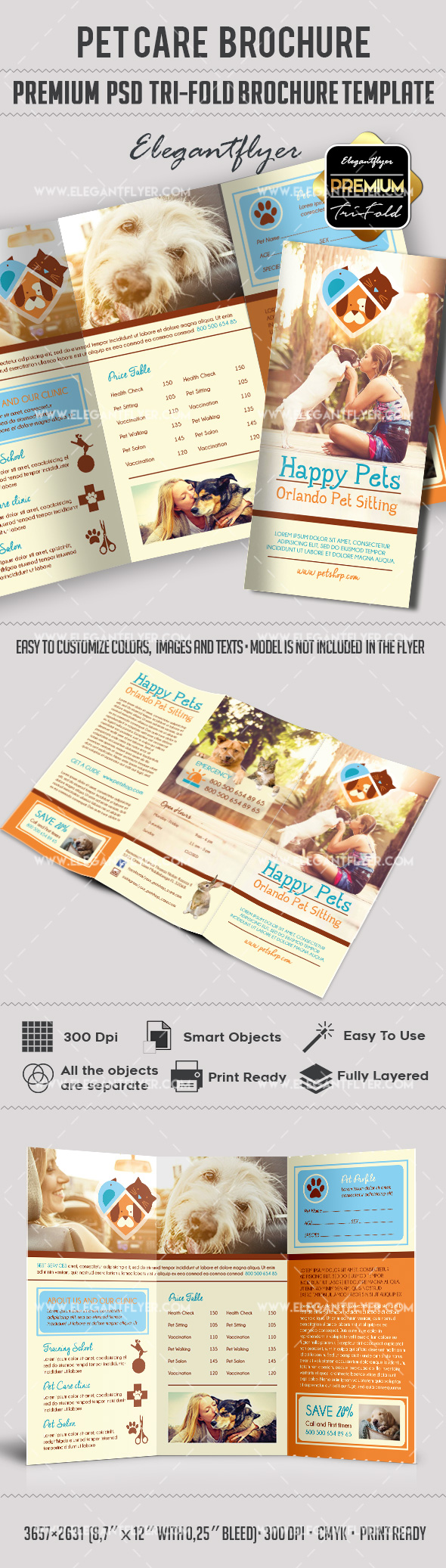 Pet Care – Premium Tri-Fold PSD Brochure Template