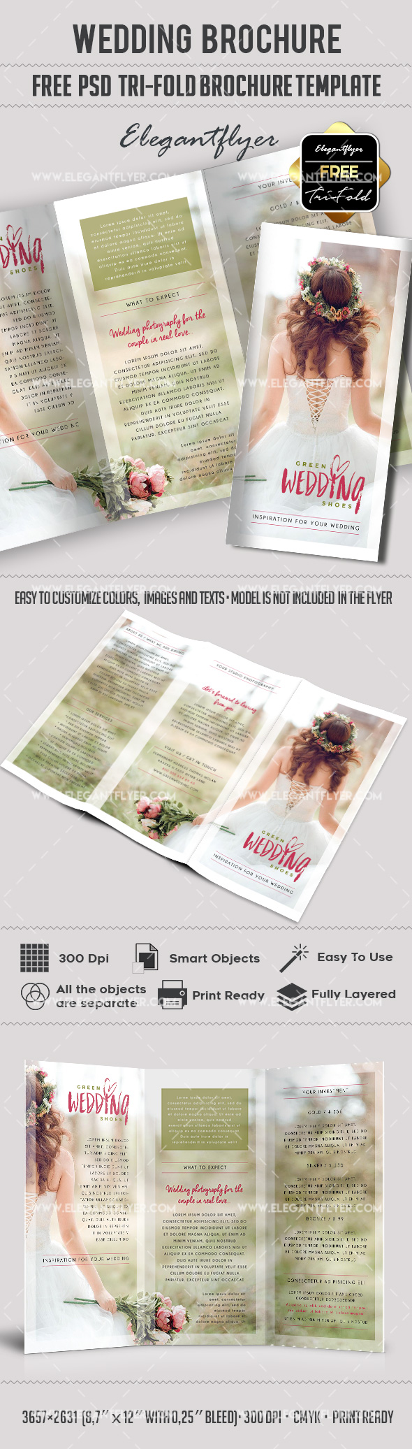 Wedding free tri fold psd brochure template by for Free templates for brochures tri fold