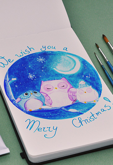 Christmas Owls – Premium Stock Illustration