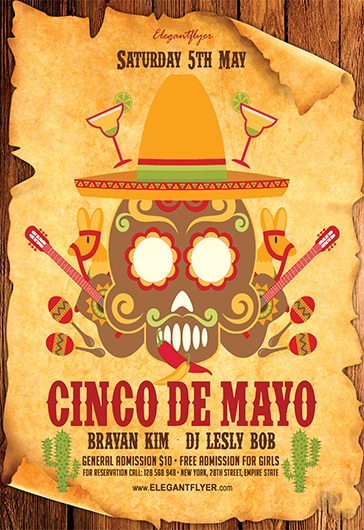 Cinco De Mayo Party – Flyer PSD Template + Facebook Cover