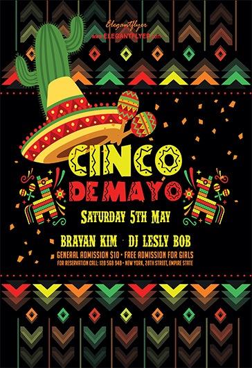Cinco De Mayo V06 – Flyer PSD Template + Facebook Cover