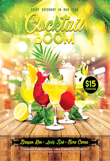 Cocktail Boom – Flyer PSD Template