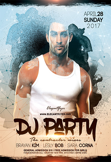 DJ Party – Flyer PSD Template + Facebook Cover