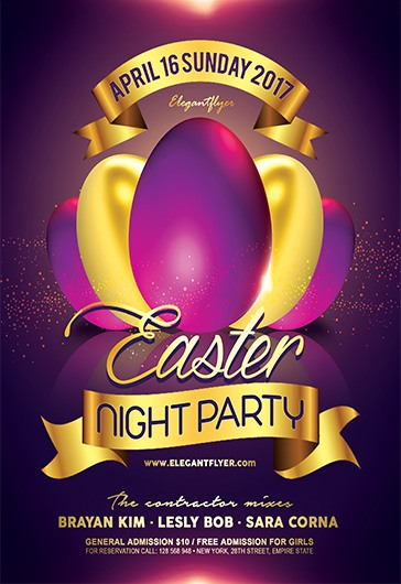 Easter Night Party  Flyer Psd Template  By Elegantflyer