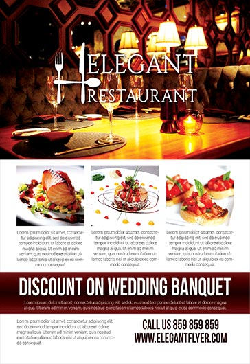 Elegant Restaurant – Flyer PSD Template + Facebook Cover