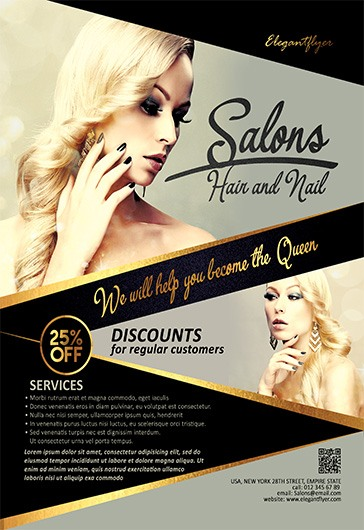 Hair And Nail Salons  Flyer Psd Template  By Elegantflyer