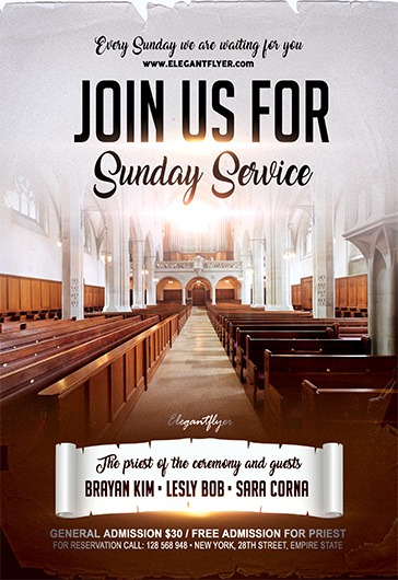 Join us for Sunday Service – Flyer PSD Template + Facebook Cover