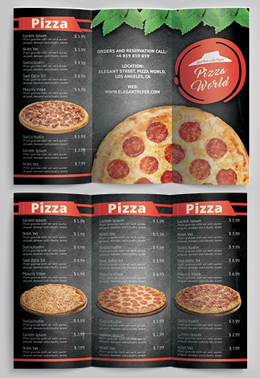 Pizza Menu – Premium Tri-Fold PSD Brochure Template