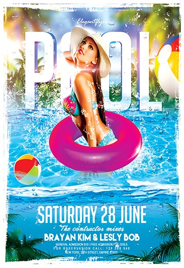 Summer pool party free club and party free flyer psd for Club piscine flyer