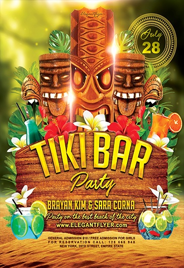 tiki bar  u2013 flyer psd template  u2013 by elegantflyer