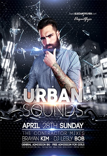Urban Sounds – Flyer PSD Template + Facebook Cover