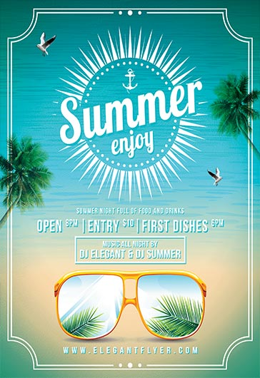 Enjoy Summer – Flyer PSD Template + Facebook Cover