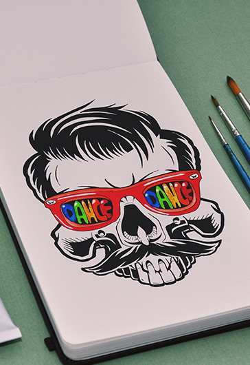 Party Skull – Premium Stock Illustration
