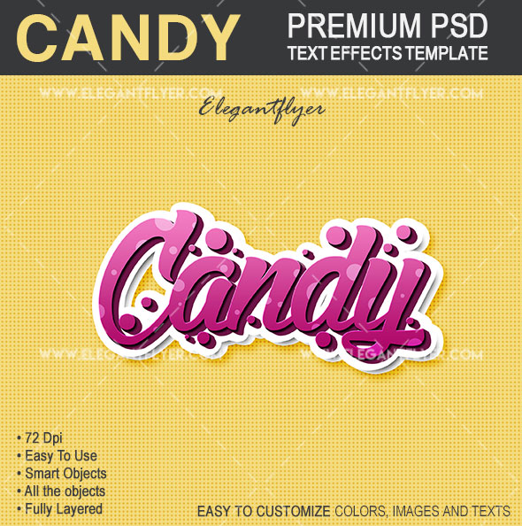 Candy – Text Effects PSD Template