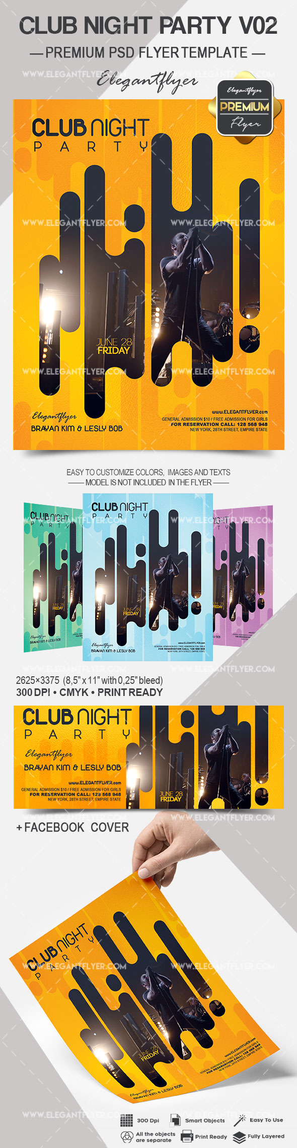 Club Night Party V02 – Premium Flyer PSD Template + Facebook Cover