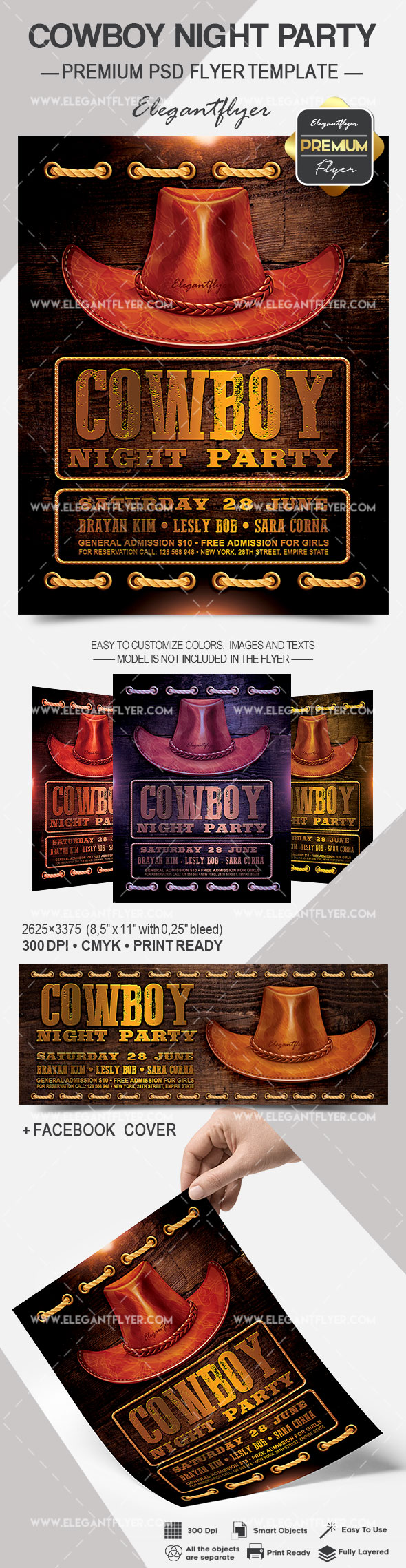 Cowboy Night Party – Flyer PSD Template
