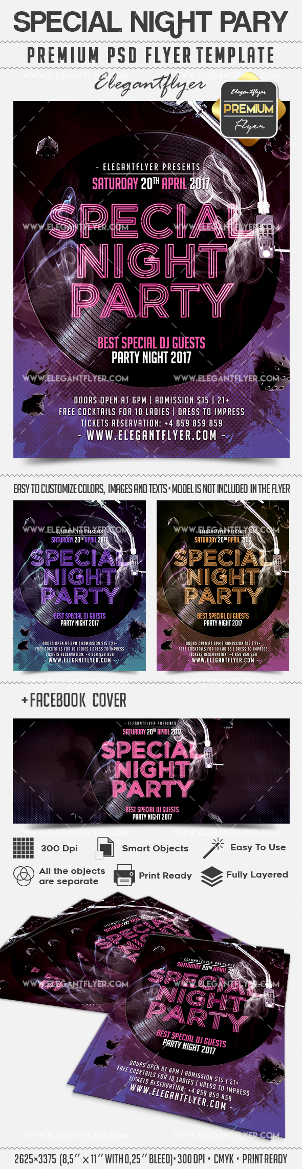 special night party flyer psd template by elegantflyer. Black Bedroom Furniture Sets. Home Design Ideas