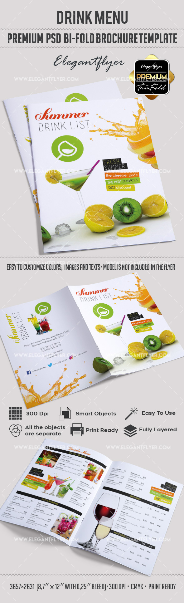 Bar Menu – Premium Bi-Fold PSD Brochure Template Food menu