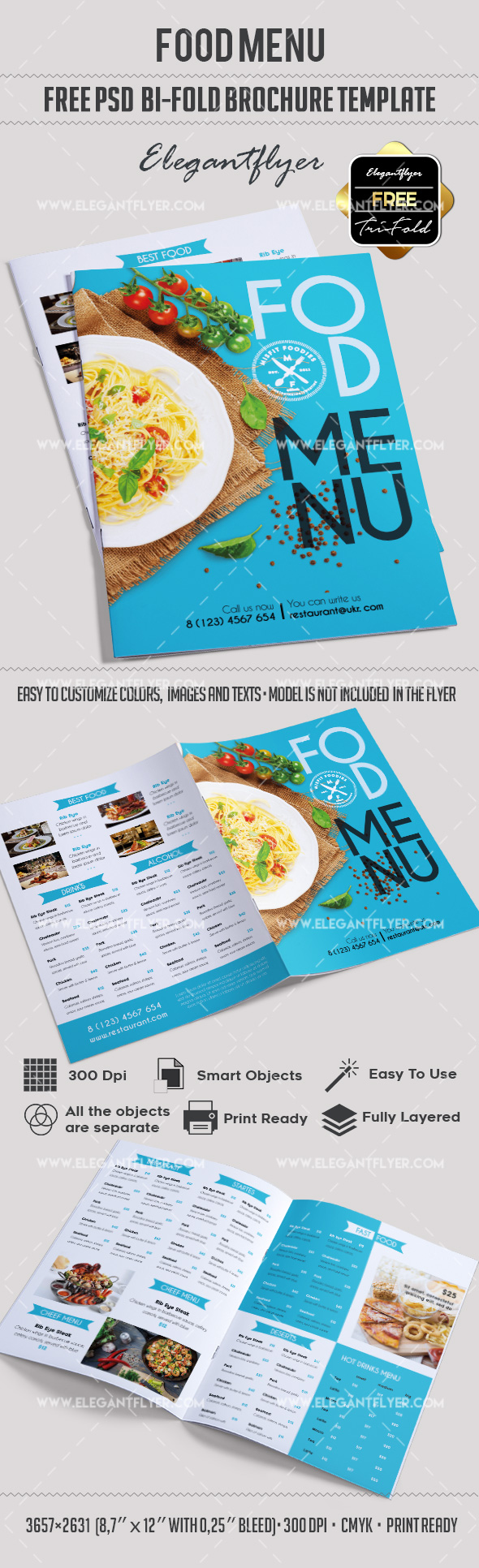 Free bi fold cafe menu psd brochure by elegantflyer for Free psd brochure template