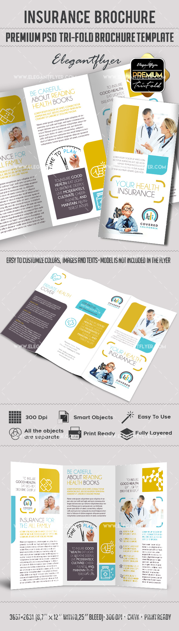 Health insurance psd brochure by elegantflyer for Tri fold brochure template psd
