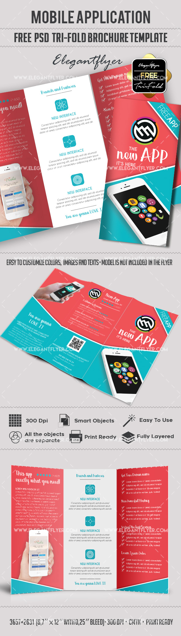 Free mobile application tri fold psd brochure by for Free flyer brochure templates