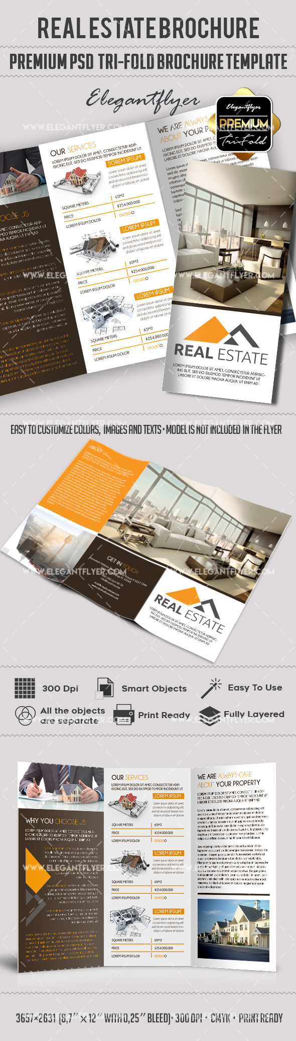 Psd brochure for commercial real estate by elegantflyer for Real estate brochure templates psd free download