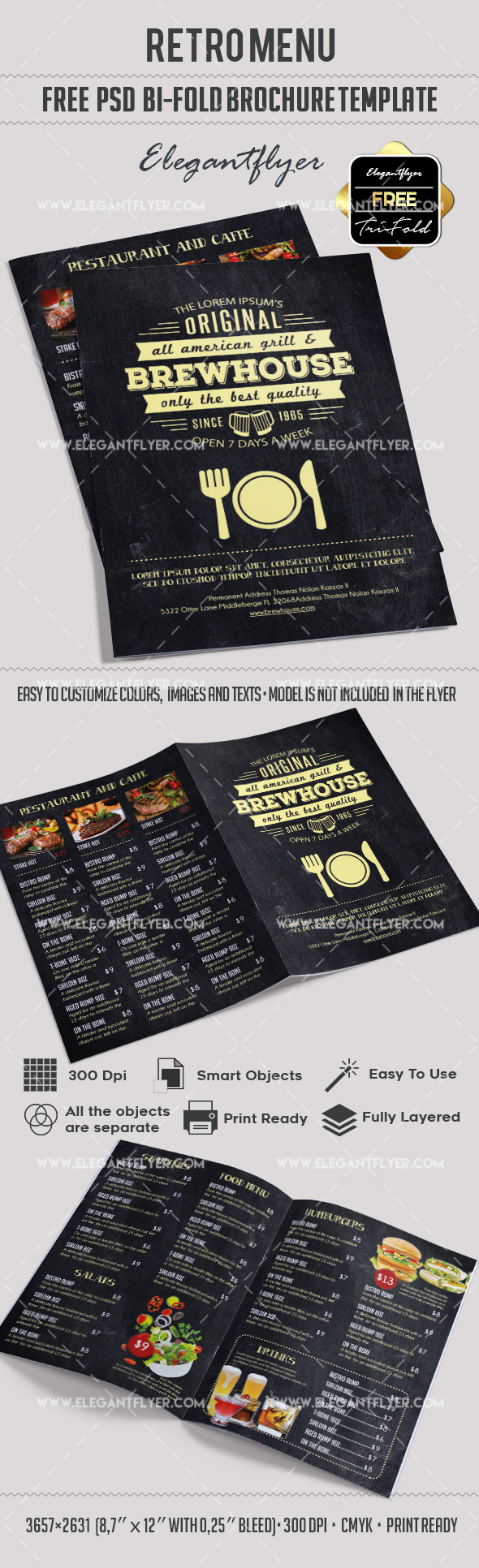 Retro Menu – Free Bi-Fold PSD Brochure Template Food Menu