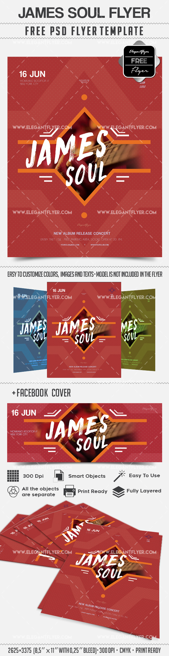 James Soul Concert – Flyer PSD Template