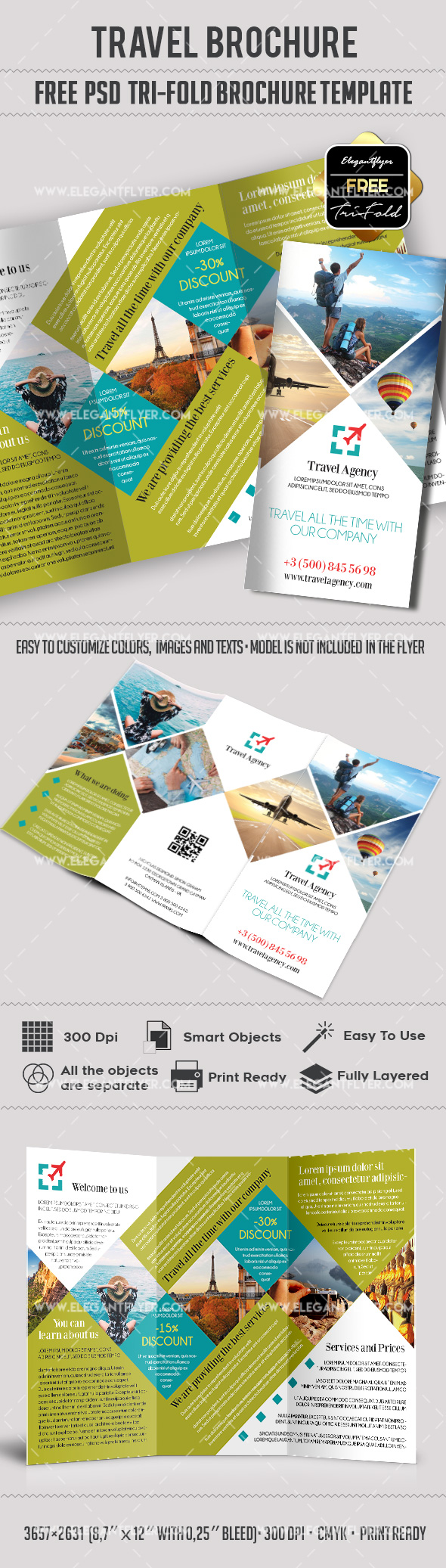 Travel – Free PSD Tri-Fold PSD Brochure Template
