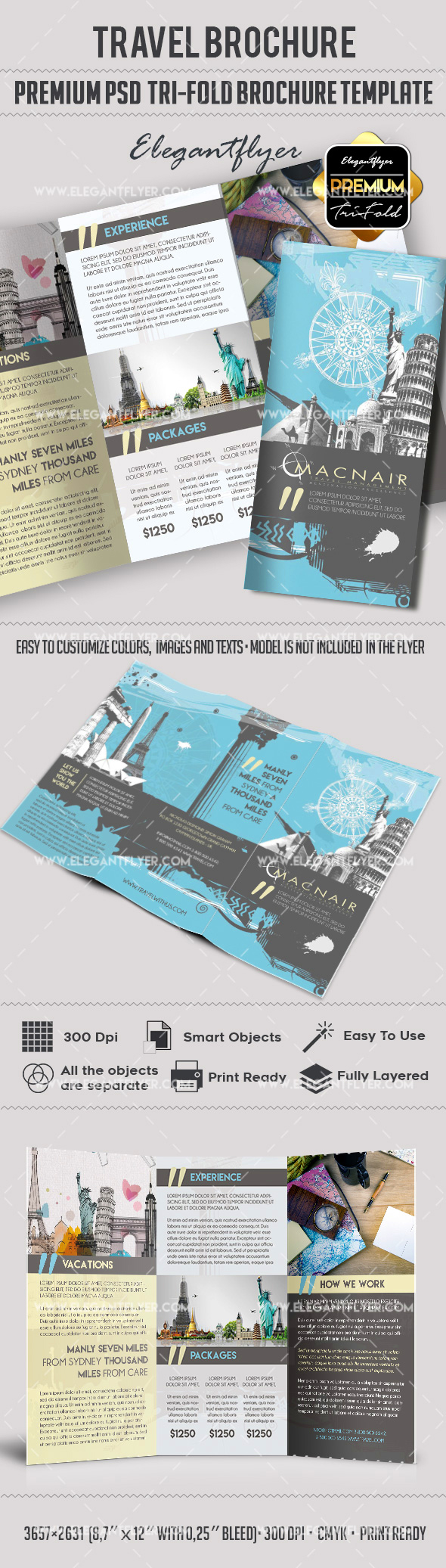 Old travel brochure template by elegantflyer for 3 fold brochure template psd