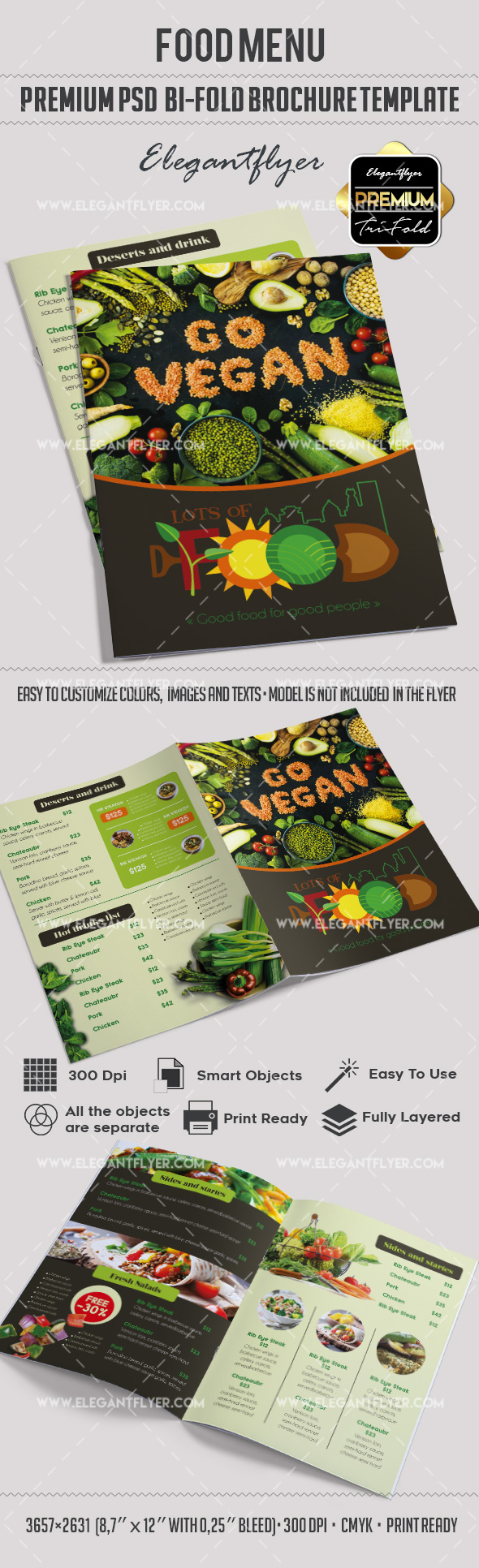 Vegan Menu – Premium Bi-Fold PSD Brochure Template Food Menu