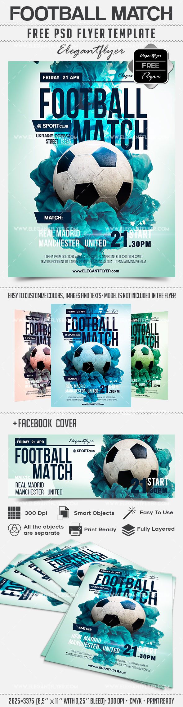 football match flyer in psd by elegantflyer. Black Bedroom Furniture Sets. Home Design Ideas