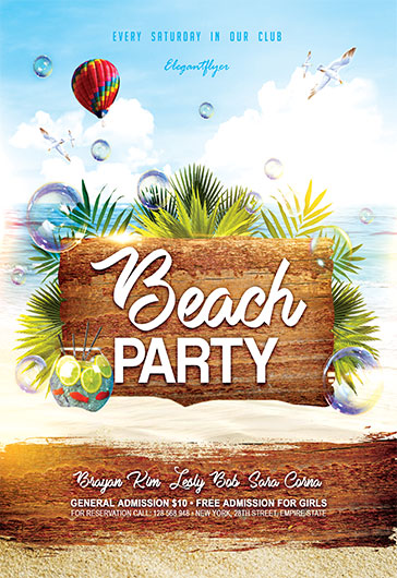Beach Party V02 – Flyer PSD Template + Facebook Cover