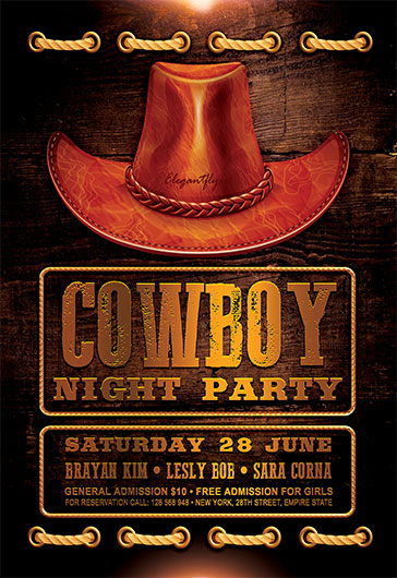 cowboy night party  u2013 flyer psd template  u2013 by elegantflyer