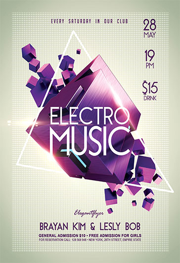 Electro Music V  Flyer Psd Template  Facebook Cover  By