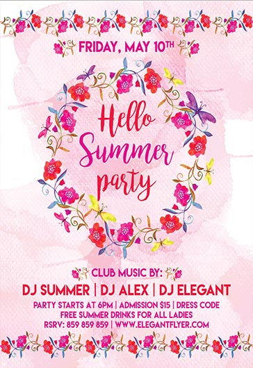 Hello Summer – Flyer PSD Template + Facebook Cover