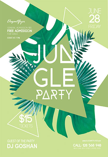 Jungle Party – Flyer PSD Template + Facebook Cover