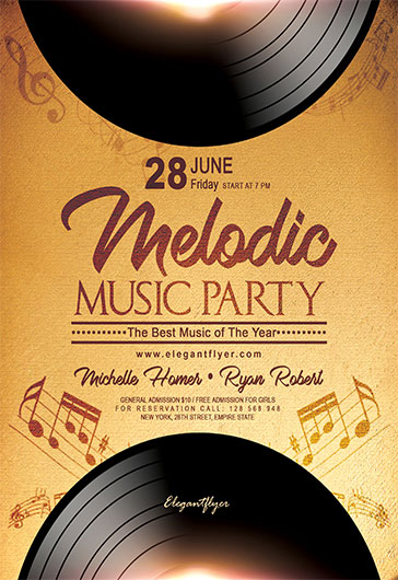 Melodic Music – Flyer PSD Template + Facebook Cover