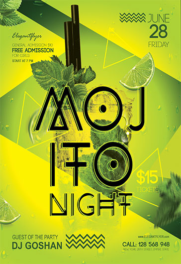 Mojito Night – Flyer PSD Template + Facebook Cover