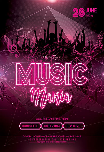 Music Mania – Flyer PSD Template
