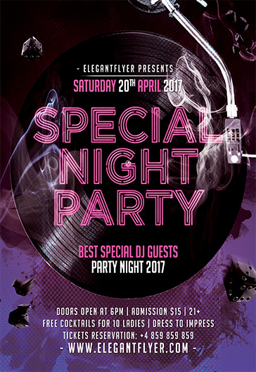 Special Night Party – Flyer PSD Template + Facebook Cover