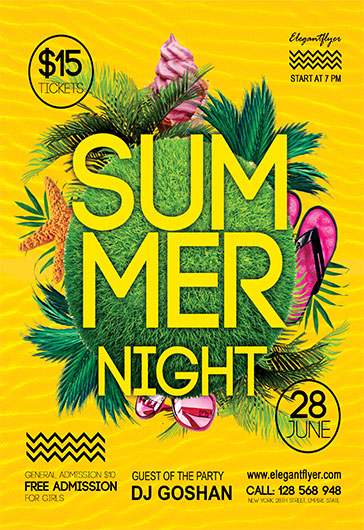 Summer Nights V02 – Flyer PSD Template + Facebook Cover
