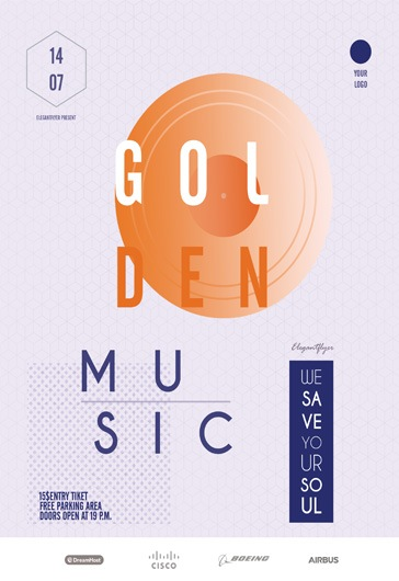 Golden music – Flyer PSD Template
