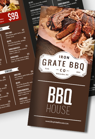 BBQ Menu – Premium Tri-Fold PSD Brochure Template Food Menu