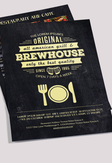 Retro Menu  Free BiFold Psd Brochure Template Food Menu  By