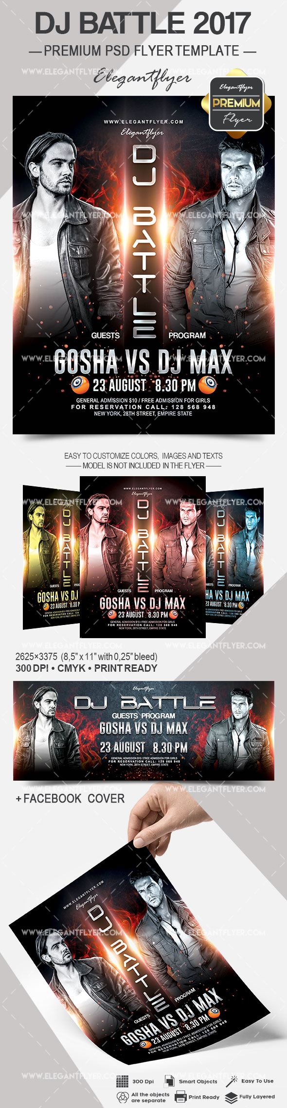 DJ Battle 2017 – Flyer PSD Template + Facebook Cover