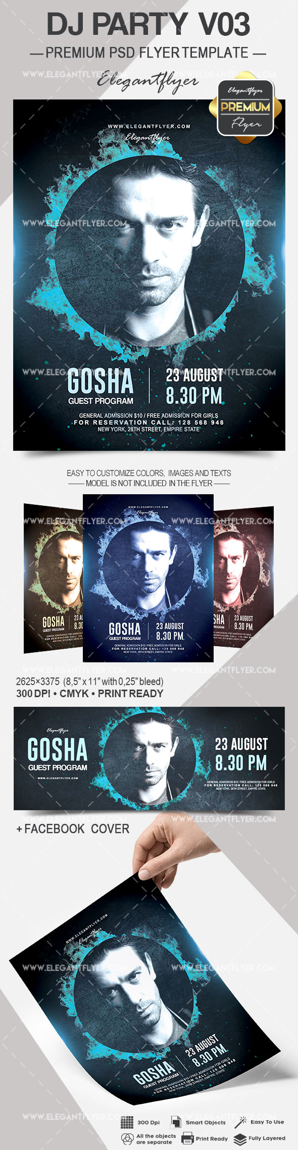 DJ Party V03 – Flyer PSD Template + Facebook Cover